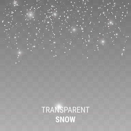 Realistic falling snowflakes isolated on transparent background Ilustração