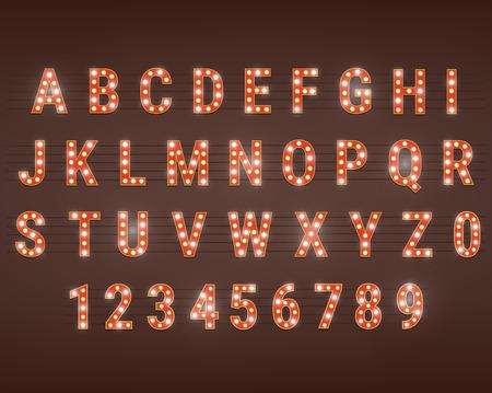 typeface with bright light bulbs. Retro cinema and show alphabet