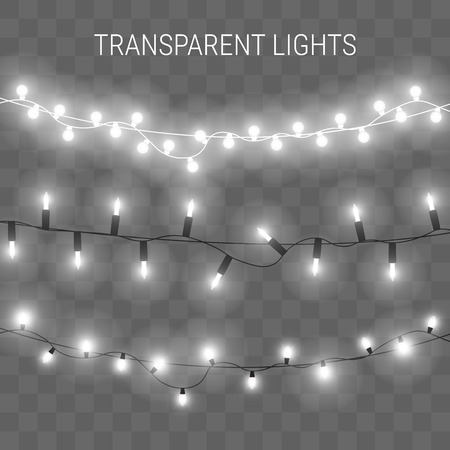 illustration of garland with bright lights. Transparent glowing light bulbs