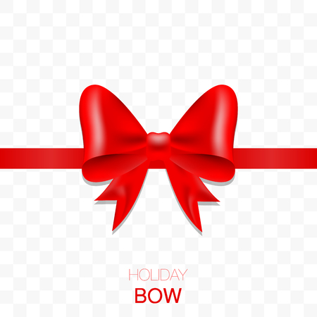 Holiday bow with ribbon on transparent background.