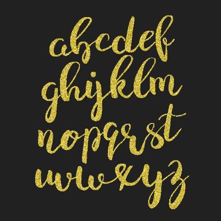Glitter gold script alphabet. Shiny brush calligraphy typeface