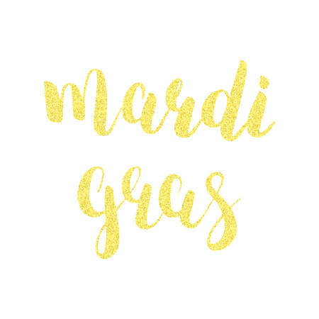 Mardi Gras gold glitter calligraphy.