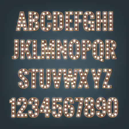 Font. Typeface with light bulbs. Shiny letters and numbers