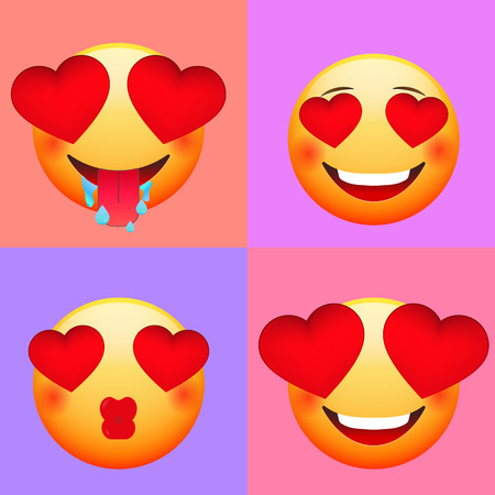 Emoticons for Valentines Day. Love emoji set