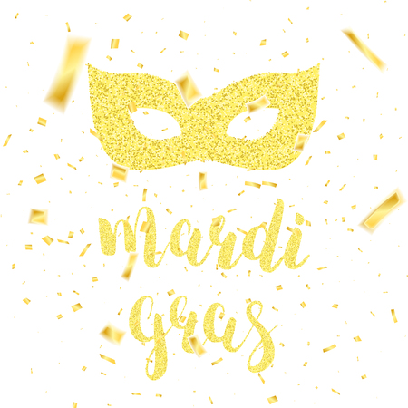 Mardi Gras card. Fat Tuesday gold glitter calligraphy, carnival mask