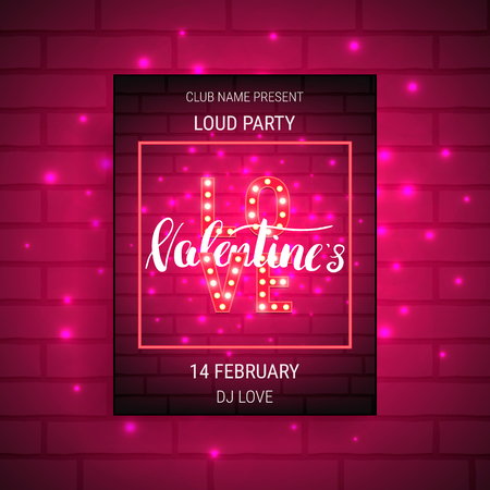 fluorescent lights: Valentines Day party poster with shiny lights and calligraphy. Stock Photo