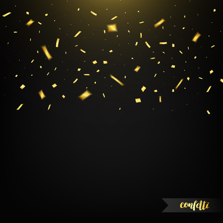 golden light: Holiday confetti isolated on dark background with light. Golden confetti. Confetti with motion effect