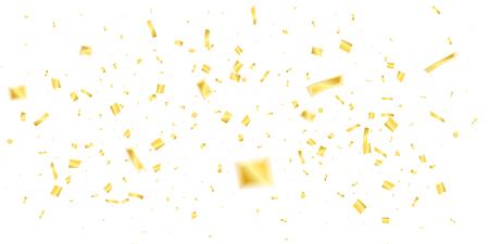 Golden confetti. Holiday shiny confetti on white background. Flying confetti 向量圖像