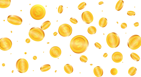 Gold coins background. Flying coins Illustration