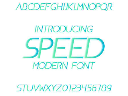 Font with motion effect. Speed typeface. Modern typography alphabet Illustration