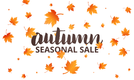 Autumn sale. Autumn lettering and falling maple leaves. Template for banner, advertisement, sale etc. Illustration