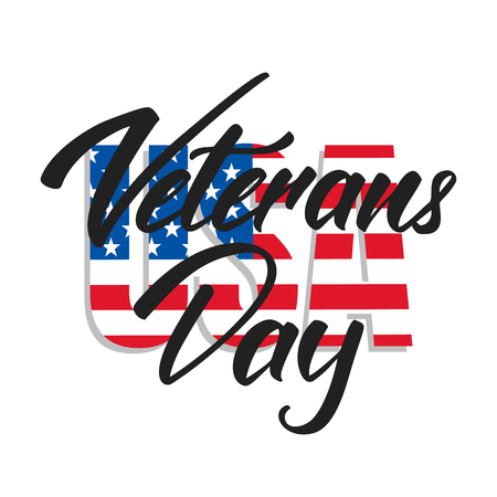 Veterans Day. Logotype with hand lettering for USA Veterans Day celebration Stock Photo