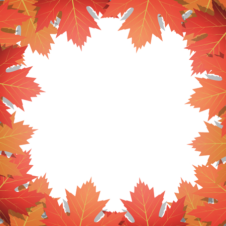Autumn leaves background. Frame of vector maple leaves. Template for Autumn banner, poster, ad, card.