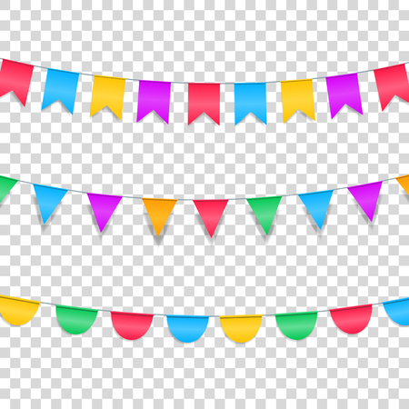 Buntings garlands isolated on transparent. Colorful buntings decorations for holiday events