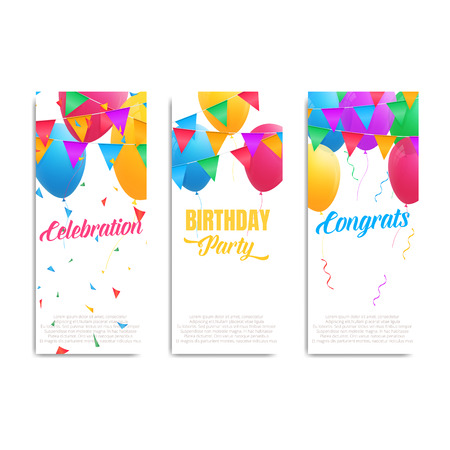 Birthday Cards Invitation Flyers With Colorful Balloons Buntings Confetti And