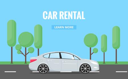 車のレンタル。広告、ウェブプロジェクトなどのためのタイポグラフィとトレンディなスタイルで現代の自動車カーレンタルコンセプトのバナー。