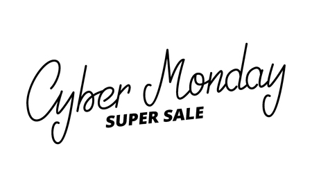 Cyber Monday. Hand lettering Cyber monday on white background. Vectores
