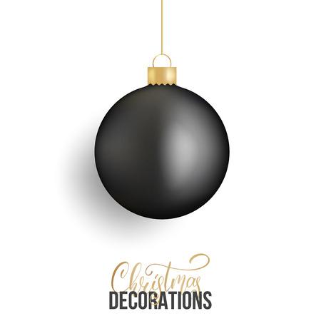 Christmas ball. Realistic Christmas ball of black metallic color. Illustration