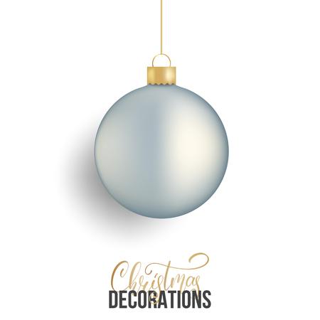 Christmas ball. Realistic Christmas ball of silver metallic color.