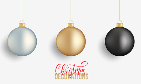 Christmas balls. Realistic Christmas balls of gold, silver and black metallic colors. Winter holidays design elements.