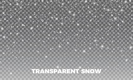 透明な雪。Vectror 透明雪背景。クリスマスと新年の装飾。
