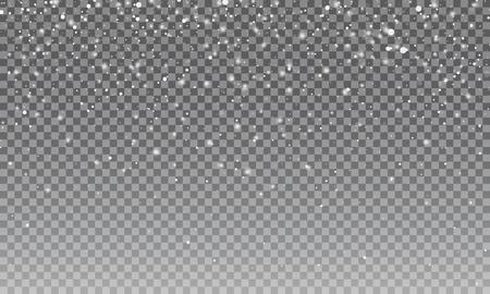 雪。ベクトル透明な雪の背景。クリスマスと新年の飾り
