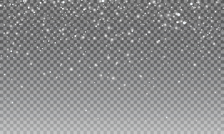 Snow. Vector transparent snow background. Christmas and New Year decoration Vettoriali