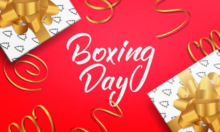 Tweede kerstdag. Banner met tekst in dozen uit Valentijnsdag, glanzende geschenkverpakkingen en realistische gouden confetti