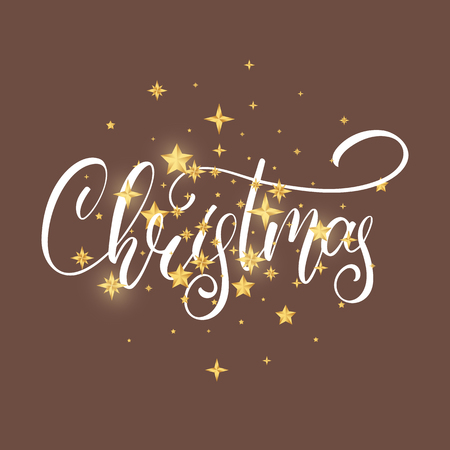 Christmas. Christmas script lettering and shiny gold Christmas stars confetti