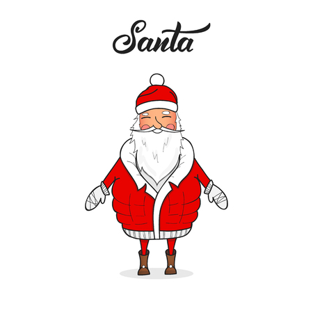 Santa Claus. Winter seasonal cartoon character. Christmas Santa