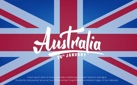 Jour de l'Australie. Bannière pour l'Australie le 26 janvier. Lettrage de l'Australie et drapeau national Banque d'images - 91308444