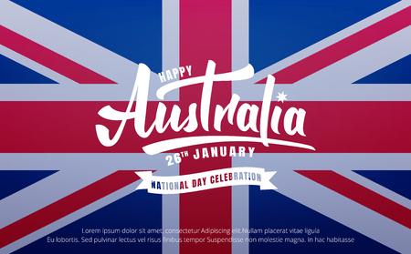 Australia Day, Banner for Australia National Day with Australia National Flag and lettering. Çizim
