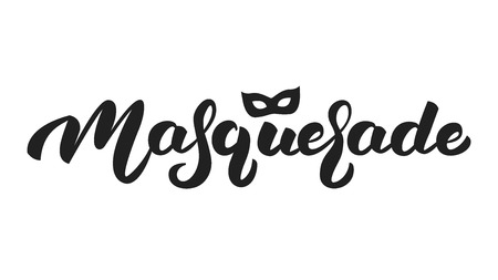 Masquerade. Lettering text design Masquerade for Mardi Gras.