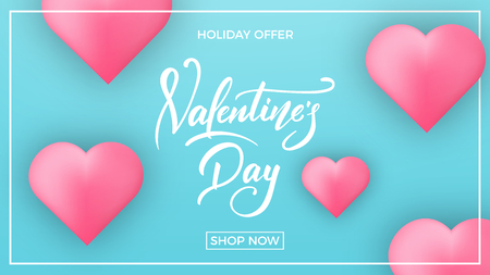 Valentines Day. Banner for Valentines Day. Valentines background with script lettering and glossy hearts. Illustration
