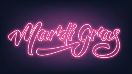 Mardi Gras neon lettering text design. Illustration
