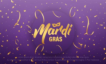Mardi Gras  background with Mardi Gras lettering and gold shiny confetti.