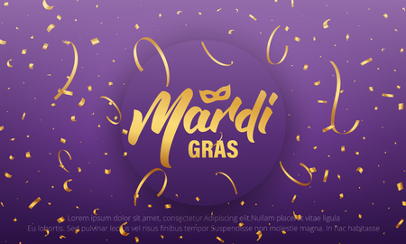 Mardi Gras  background with Mardi Gras lettering and gold shiny confetti.