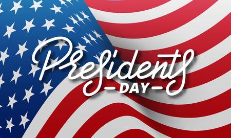 Día del Presidente. Banner para los Presidentes Day Day de los Estados Unidos. Bandera nacional de los eeuu y letras