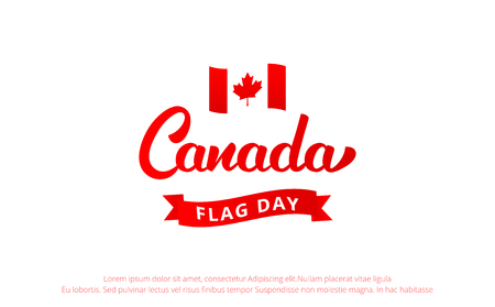 Canada Flag Day. Banner with Lettering Canada and National Flag Illustration