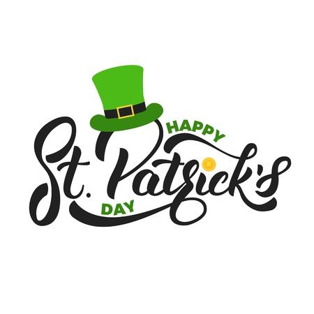 Saint Patricks Day. Belettering St. Patricks met gouden munt en kabouter hoed. St. Patricks Day-kaart