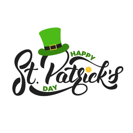 Saint Patricks Day. Lettering St. Patricks with gold coin and leprechaun hat. St. Patricks Day card