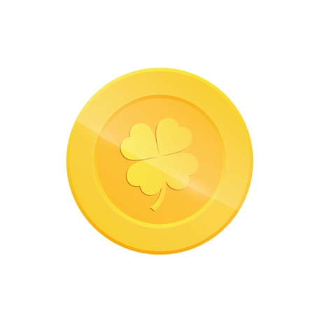 Saint Patricks Day coin. Gold coin with four leaf clover sign.