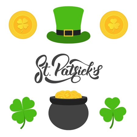Saint Patricks Day. Lettering, gold coins, clovers and cylinder hat. Set of elements for Patricks Day.