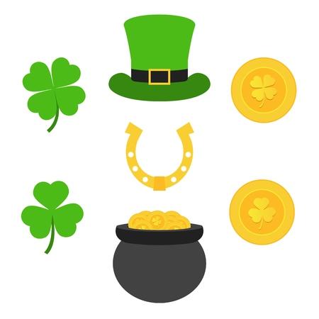 Le jour de la Saint-Patrick. Pièces d'or, trèfles, fer à cheval et chapeau de cylindre. Ensemble d'éléments pour le jour de Patrick. Vecteurs