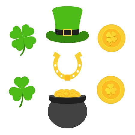 Saint Patricks Day. Gold coins, clovers, horseshoe and cylinder hat. Set of elements for Patricks Day.
