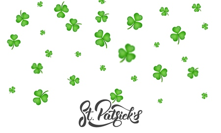 St. Patricks Day. Clover shamrock leaves background and St. Patricks lettering. St. Patricks Day background.