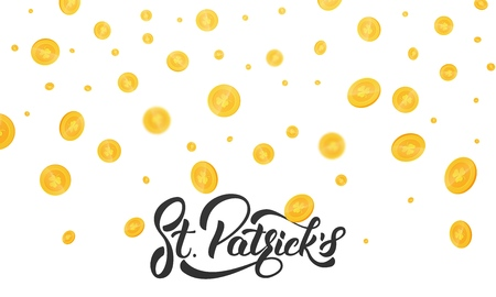 St. Patricks Day. Gold coins with clover signs. Background with coins and St. Patricks lettering. St. Patricks Day background