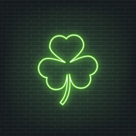 Saint Patricks Day. Neon glowing sign of three leaves clover leaf. Saint Patrick neon set