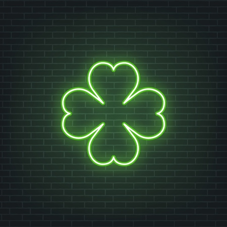 Saint Patricks Day. Neon glowing sign of four leaves clover leaf. Saint Patrick neon set Illustration