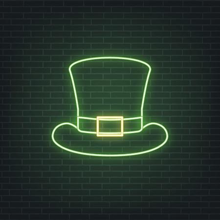 Saint Patricks Day. Neon glowing sign of leprechaun hat. Saint Patrick neon set Illustration